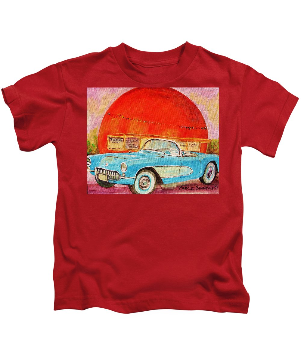 Montreal Kids T-Shirt featuring the painting My Blue Corvette At The Orange Julep by Carole Spandau