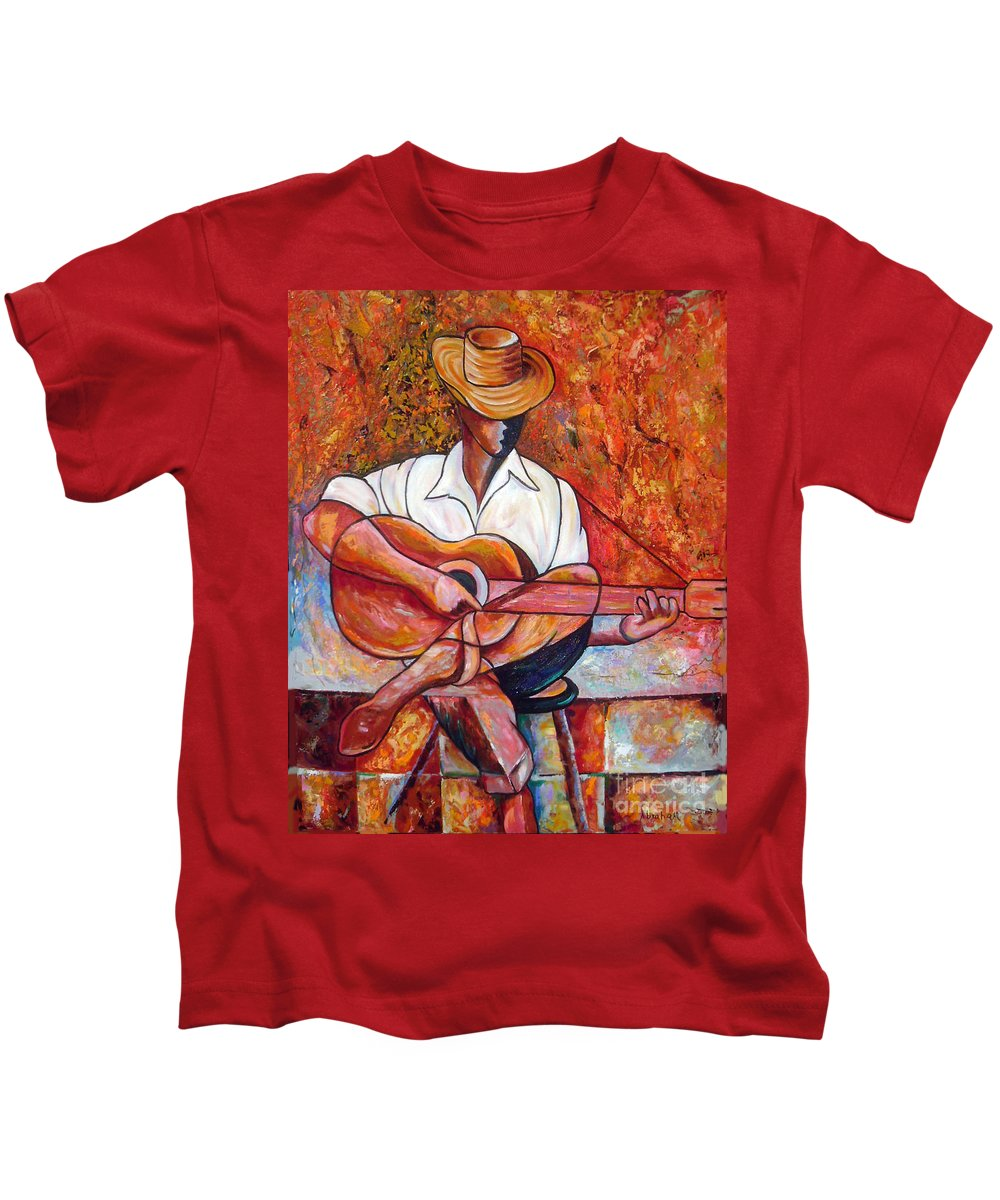 Cuba Art Kids T-Shirt featuring the painting My Guitar by Jose Manuel Abraham