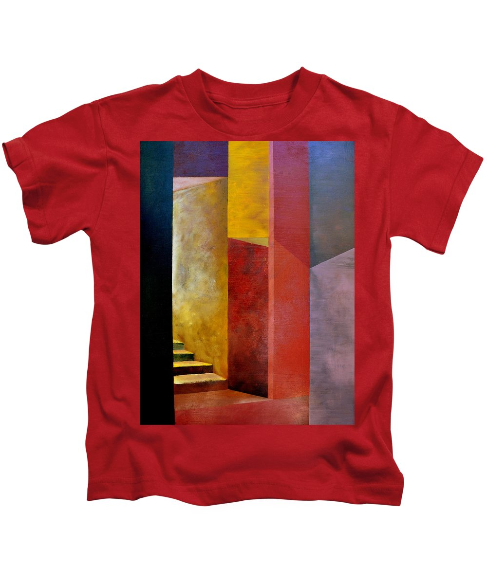 Gold Kids T-Shirt featuring the painting Mystery Stairway by Michelle Calkins