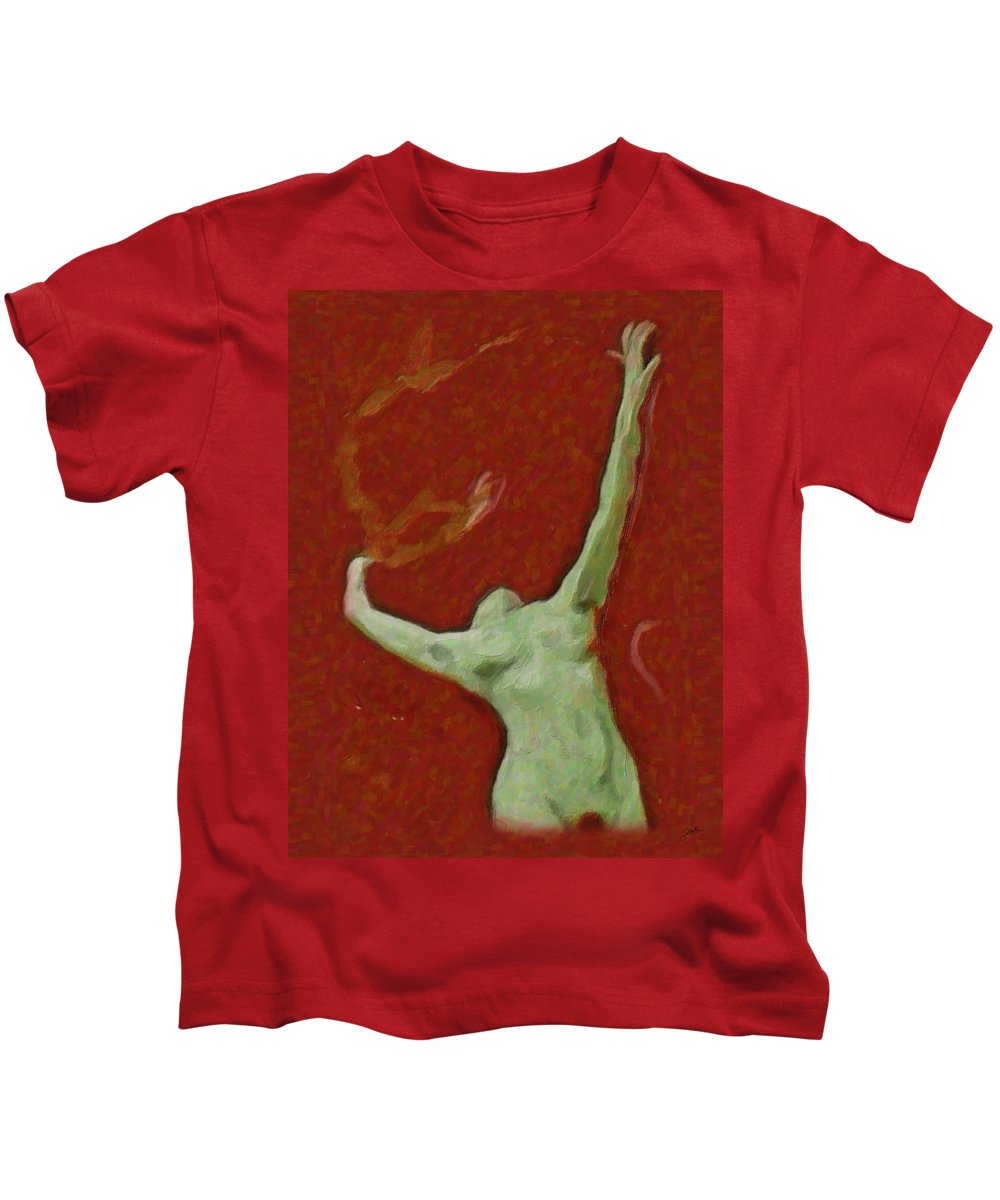 Abstract Kids T-Shirt featuring the painting Naked Dance Of The Enchantress by Quim Abella