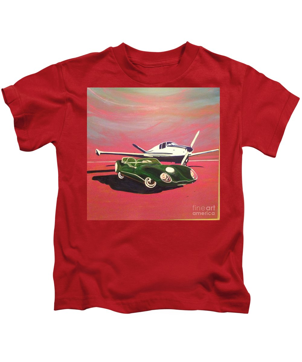 Napa Valley Lotus And Bonanza Beechcraft -tail Is A Beautiful Day In Napa. Kids T-Shirt featuring the painting Napa Valley Lotus And Bonanza Beechcraft by Rebecca Lou Mudd