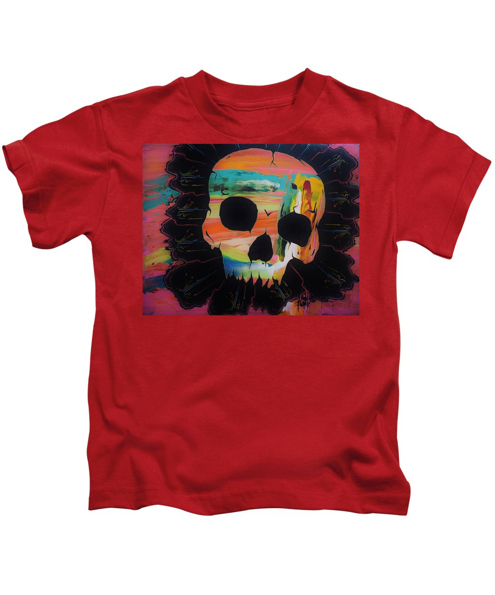 Skulls Kids T-Shirt featuring the painting Negative Relations 5 by David Buschemeyer