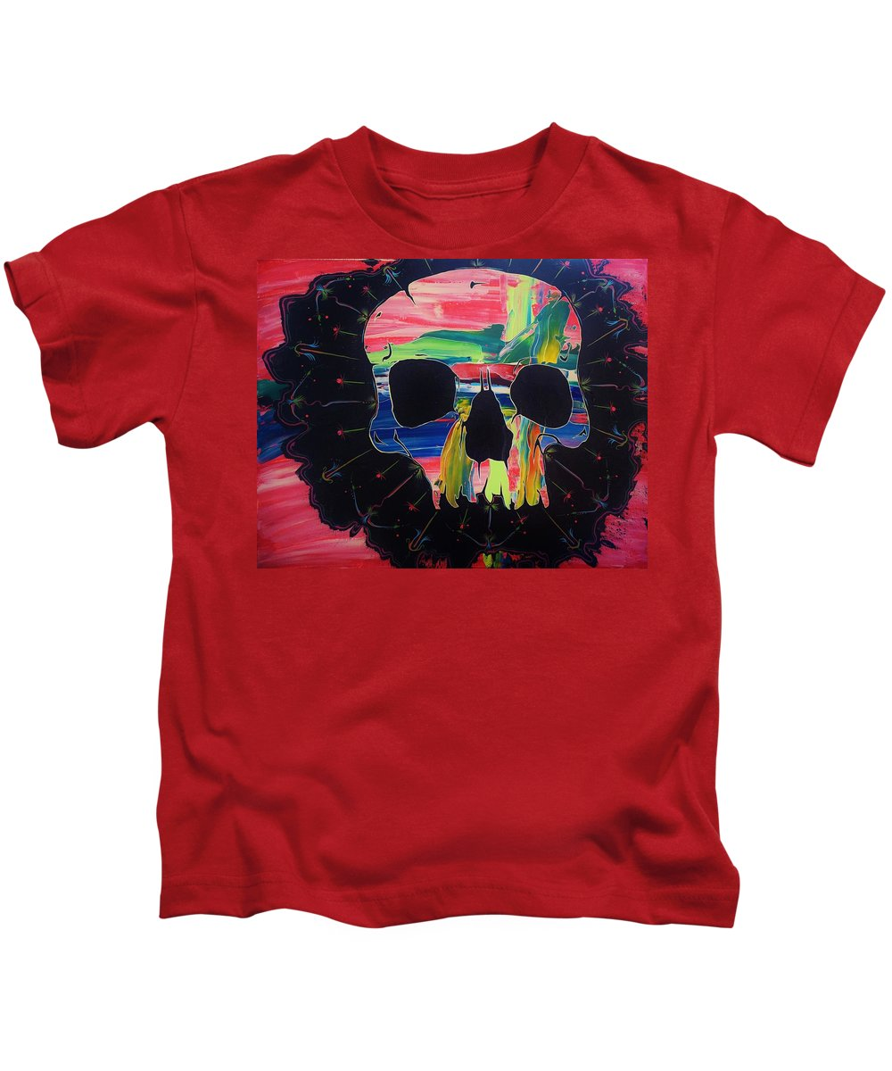 Skulls Kids T-Shirt featuring the painting Negative Relations 6 by David Buschemeyer