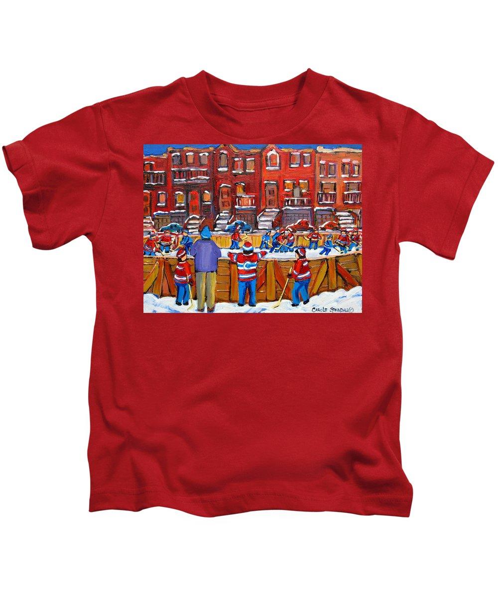 Hockeygame At The Neighborhood Rink Kids T-Shirt featuring the painting Neighborhood Hockey Rink by Carole Spandau