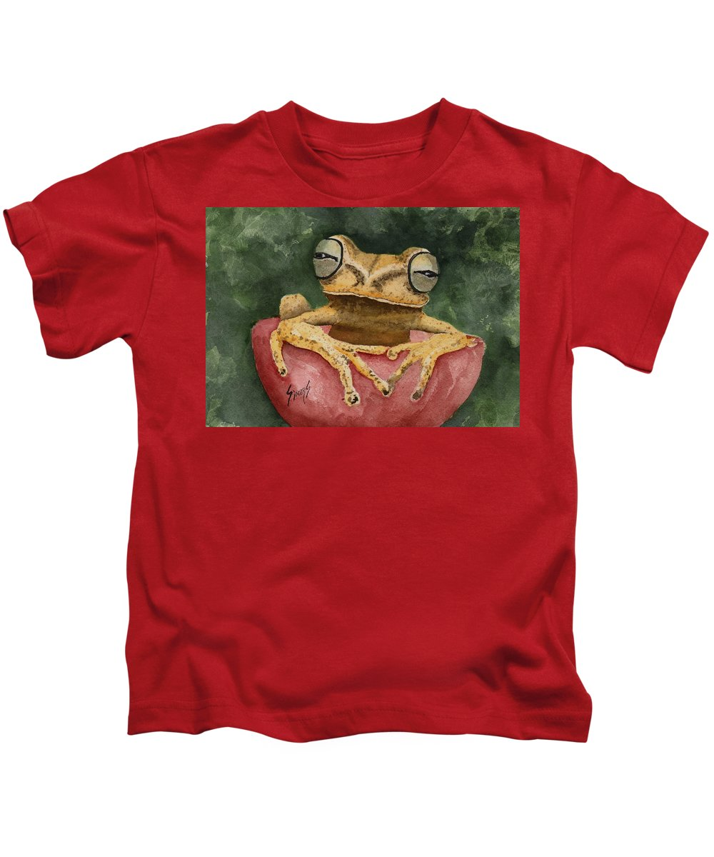 Frog Kids T-Shirt featuring the painting Nic's Frog by Sam Sidders