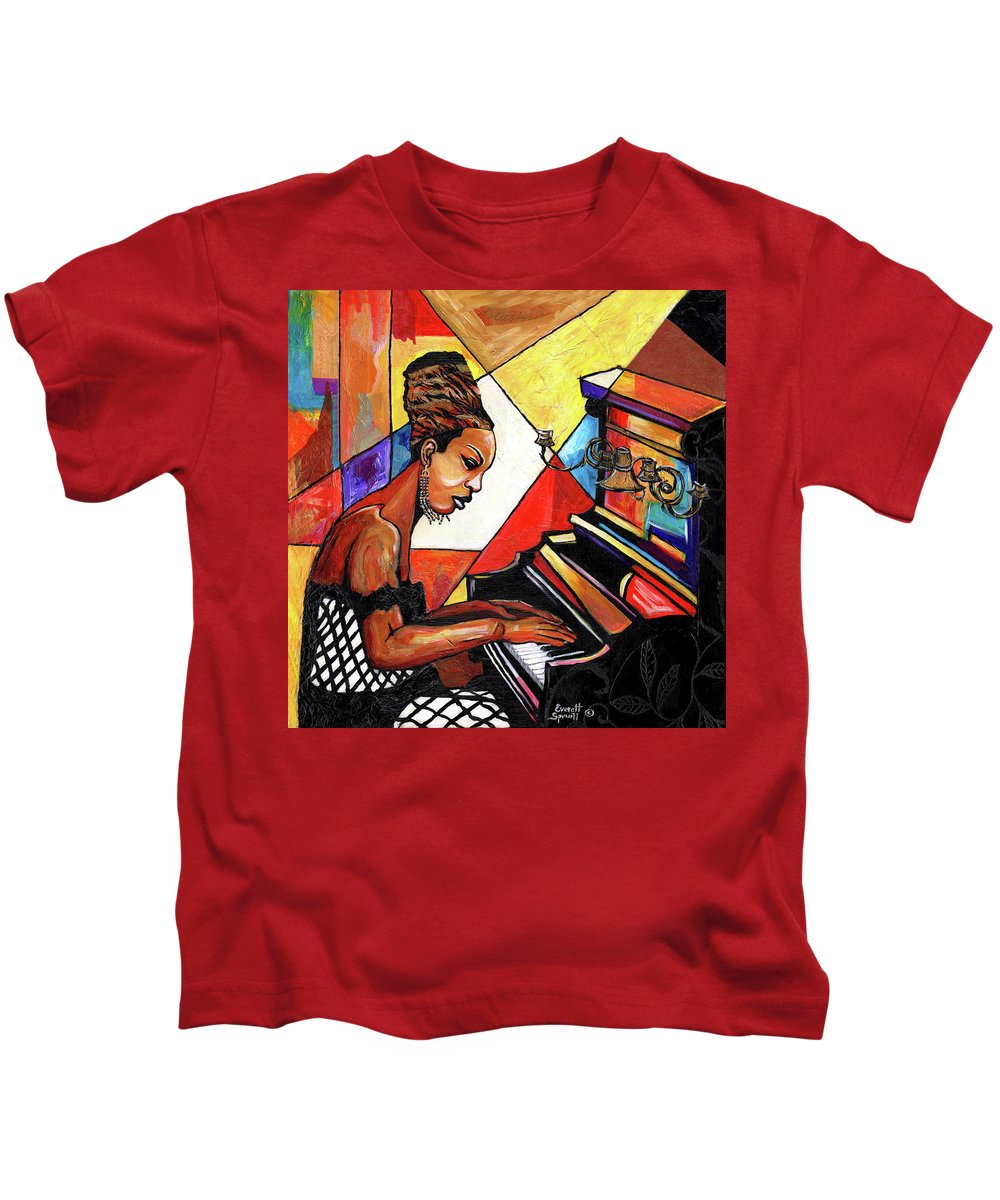 Everett Spruill Kids T-Shirt featuring the mixed media Nina Simone by Everett Spruill