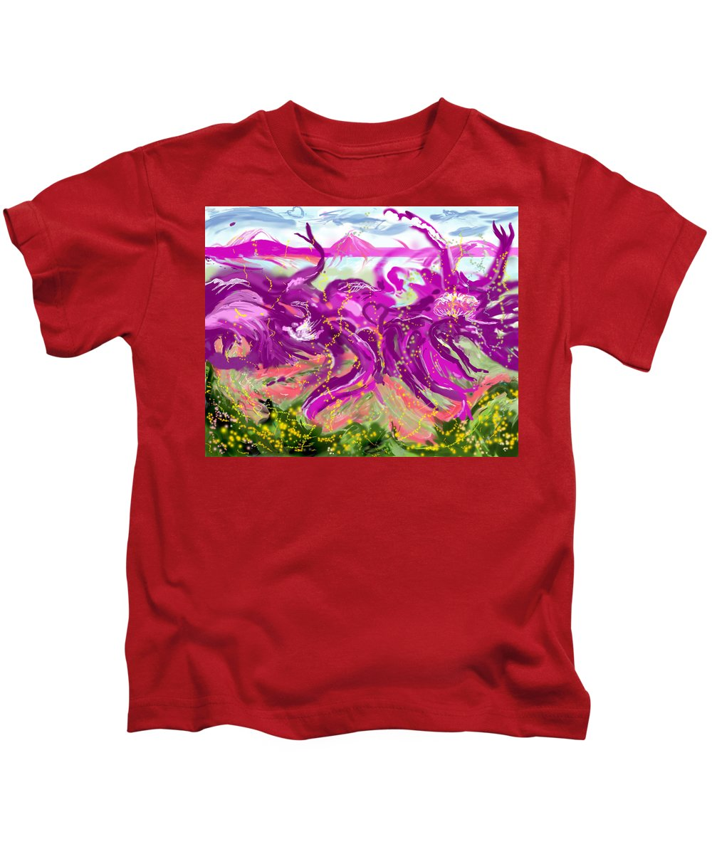 Abstract   Imaginary Seascape Purple Kids T-Shirt featuring the digital art No LSD Involved by Suzanne Udell Levinger