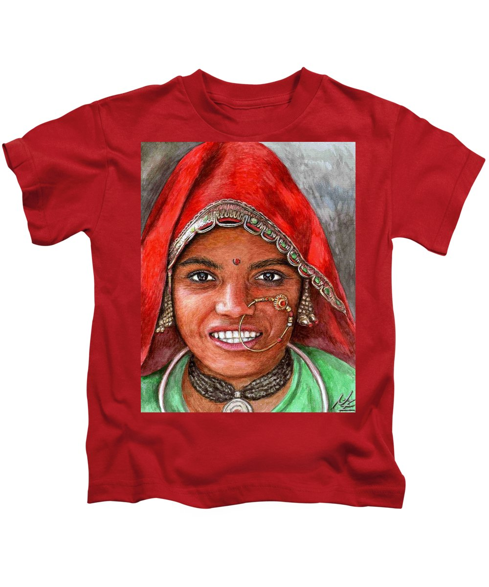 Woma Kids T-Shirt featuring the painting Northindian Woman by Nicole Zeug