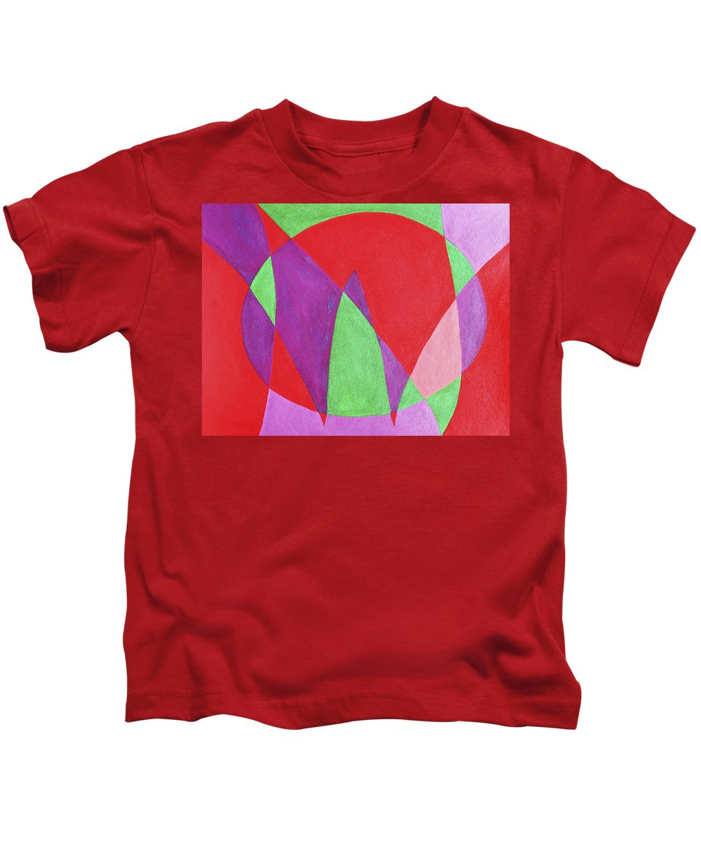 Abstract Kids T-Shirt featuring the painting Now In Abstract Text Art by Lee Serenethos