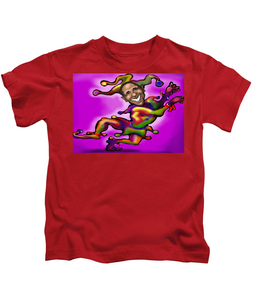 Obama Kids T-Shirt featuring the digital art Obama Jester by Kevin Middleton