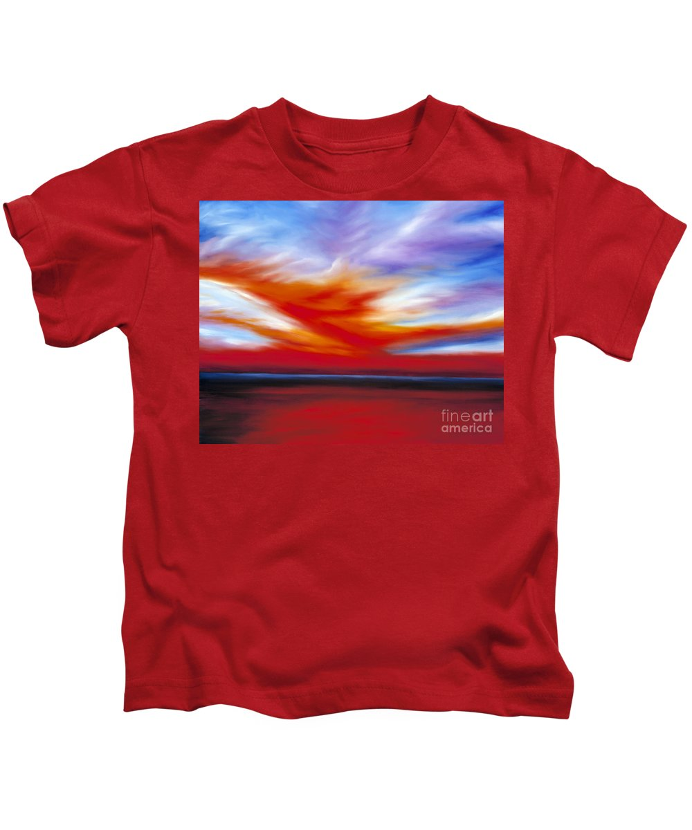 Seascape Kids T-Shirt featuring the painting October Sky II by James Christopher Hill