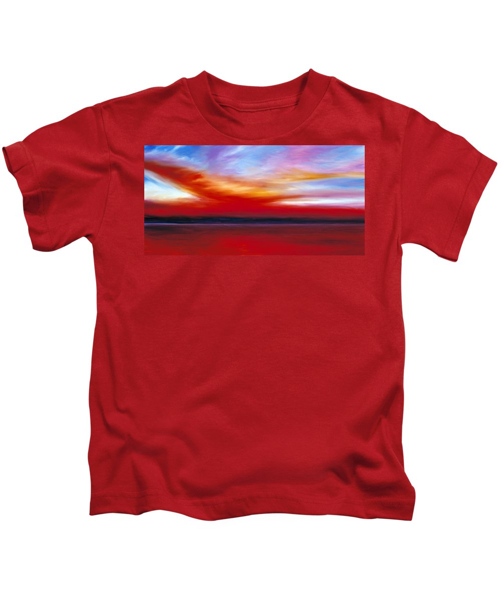 Clouds Kids T-Shirt featuring the painting October Sky by James Christopher Hill