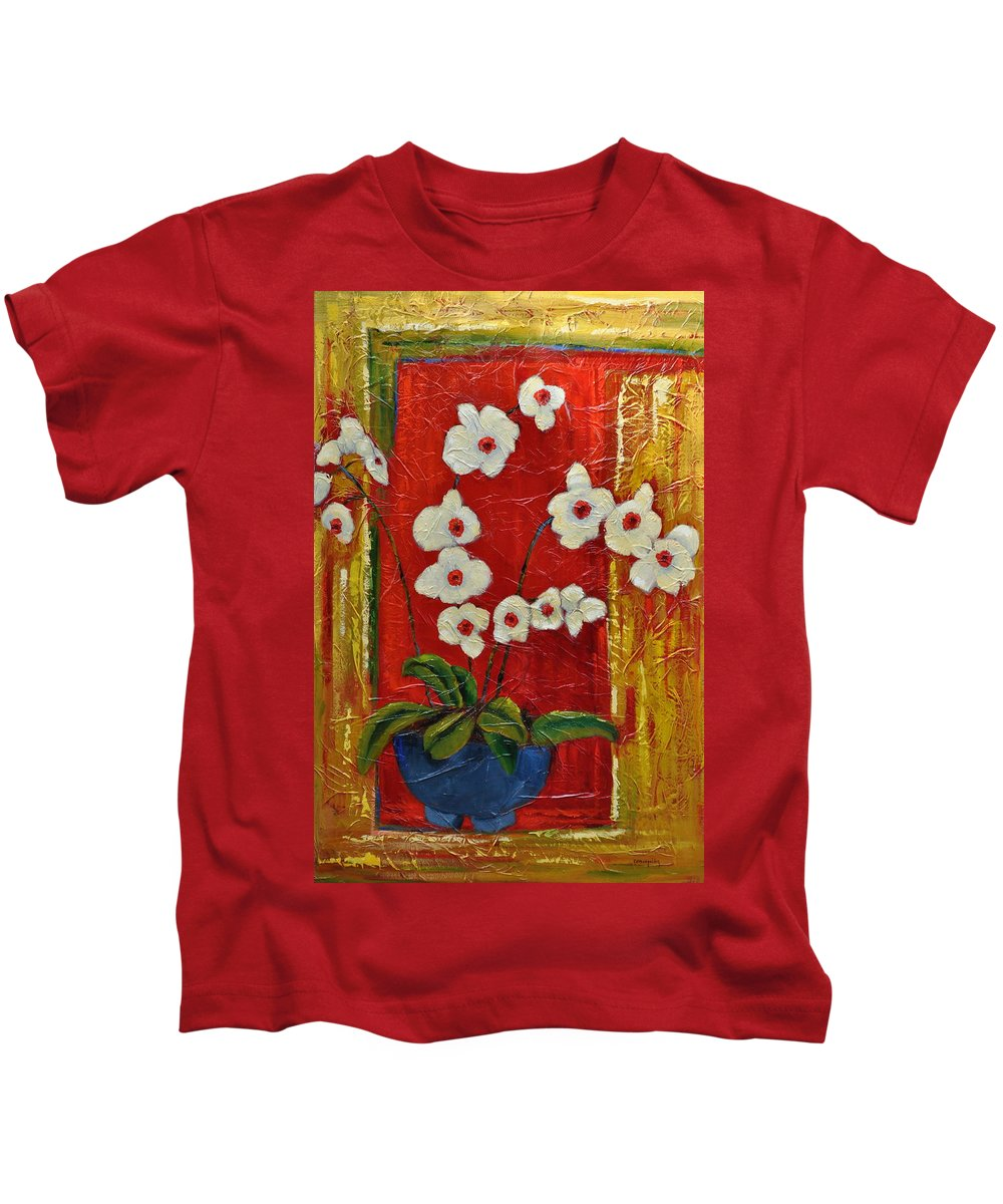 Orchids Kids T-Shirt featuring the painting Ode To Orchids by Ginger Concepcion