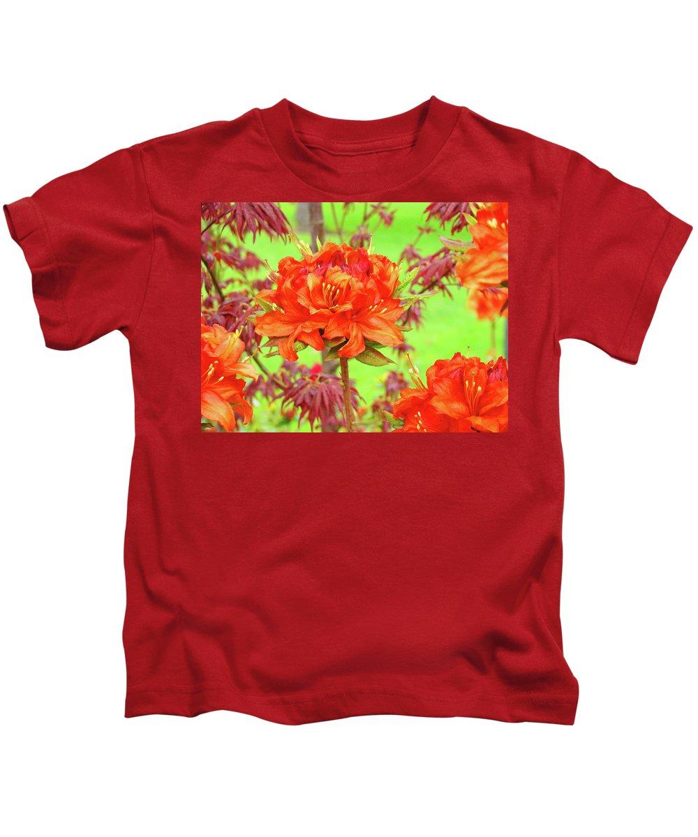 �azaleas Artwork� Kids T-Shirt featuring the photograph Office Art Prints Orange Azalea Flowers Landscape 13 Giclee Prints Baslee Troutman by Baslee Troutman