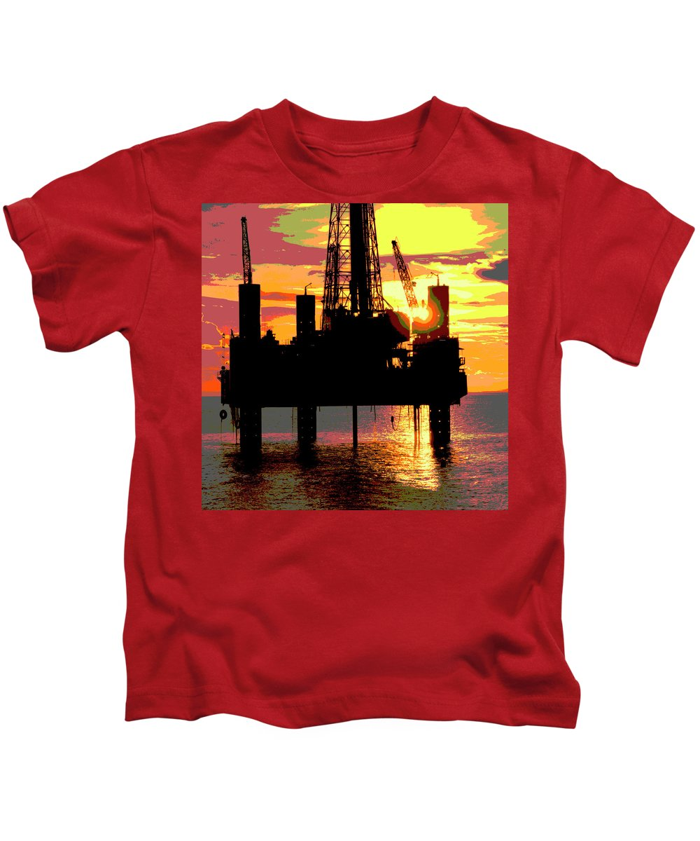 Oil Gas Industry Pump Jack Well Oilfield American America Blue Black Production Platform Drilling Rig Geology Exploration Pipeline Refining Up Down Mid Stream Abstract Petroleum Petrochemical Gas Drill Driller Technology Digital Manipulation Texas Men Decor Art Fine Office Industrial Wells Pumps Graphic Photograph Photo Image Arty Oilwell Offshore Energy Pumpjack Barrel Art Crude Oilman Toolpusher Kids T-Shirt featuring the photograph Offshore Drilling Rig Sunset by Dennis Thompson