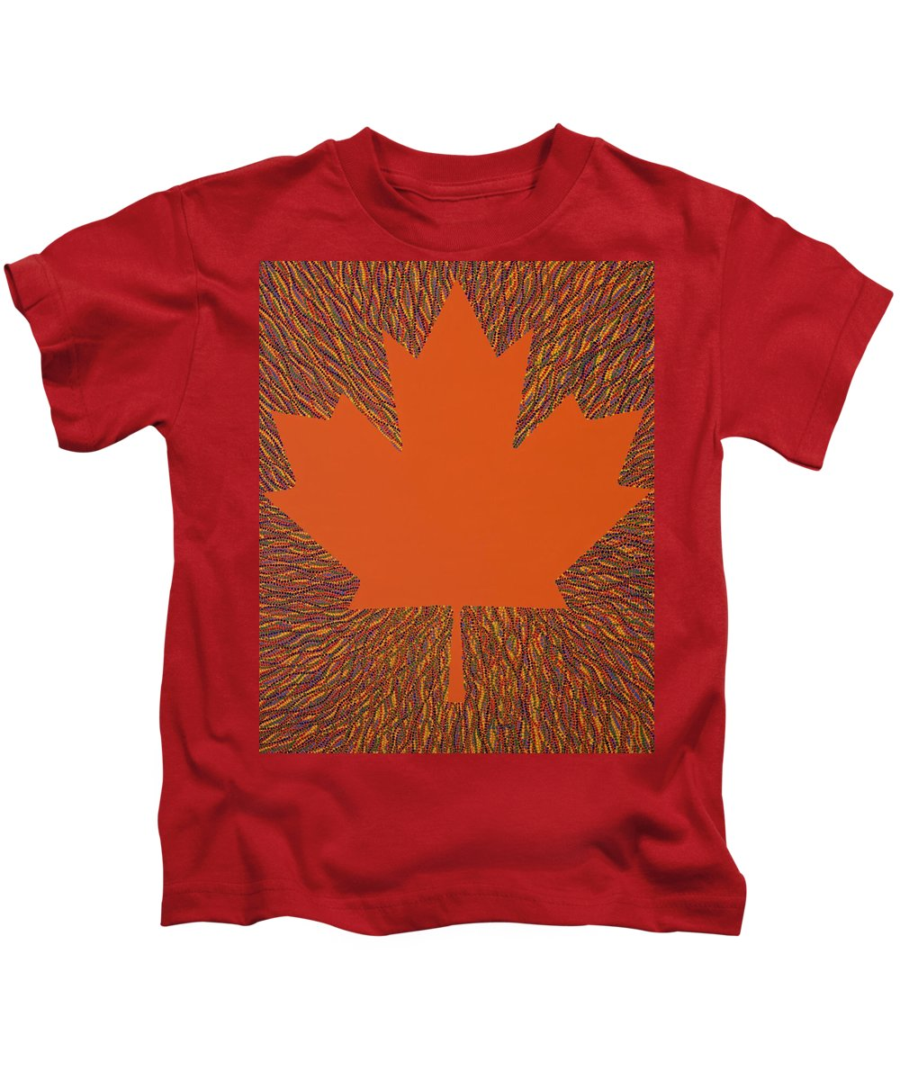 Oh Canada Kids T-Shirt featuring the painting Oh Canada 5 by Kyung Hee Hogg