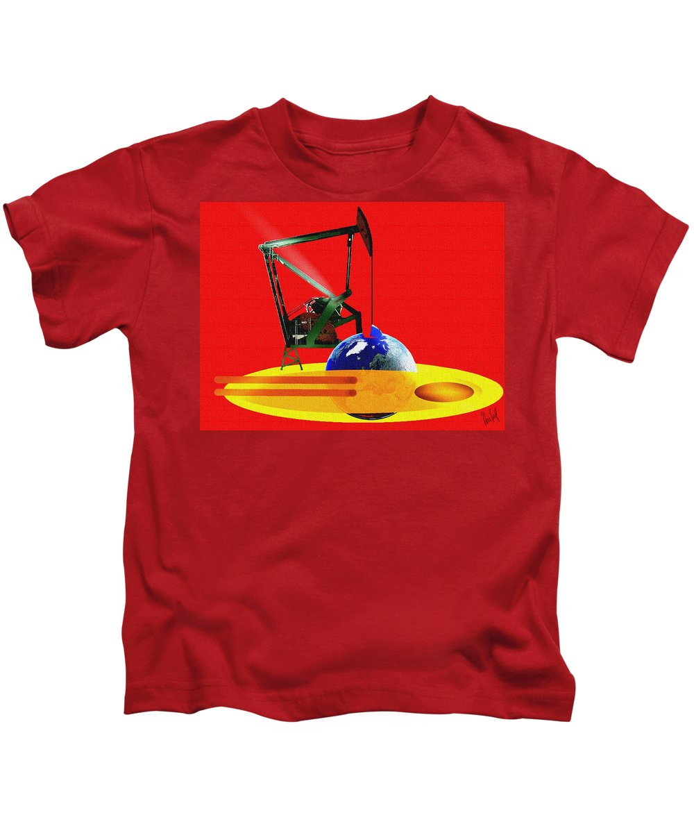 Urgent Kids T-Shirt featuring the digital art oil by Helmut Rottler