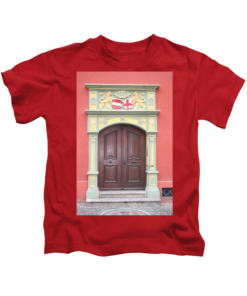 Door Kids T-Shirt featuring the photograph Old Door And Emblem by Christiane Schulze Art And Photography