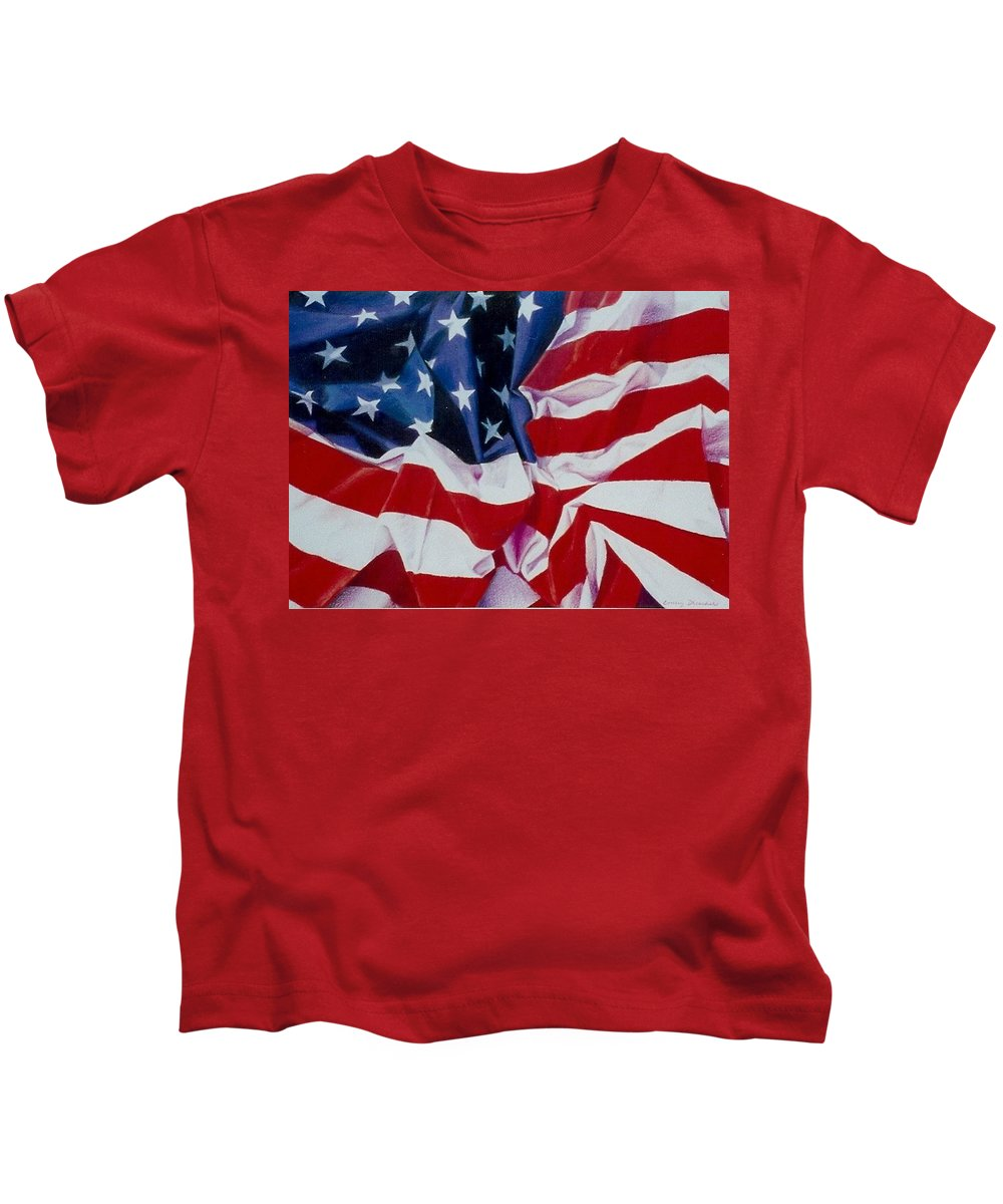 Red Kids T-Shirt featuring the painting Old Glory 1 by Constance Drescher