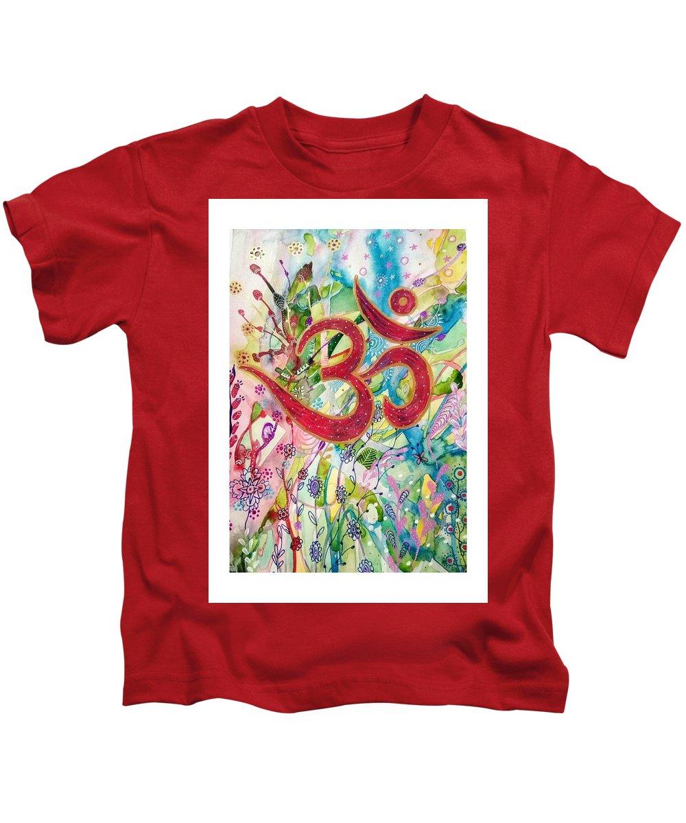 Om Kids T-Shirt featuring the mixed media Om In Nature by Sanya Shankar