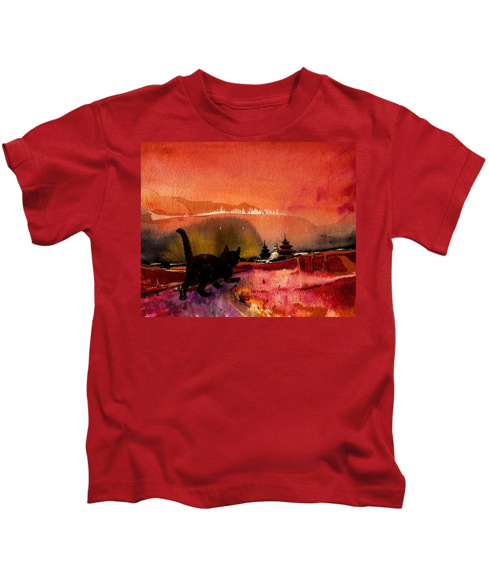 Animals Kids T-Shirt featuring the painting On The Road To Catmandu by Miki De Goodaboom