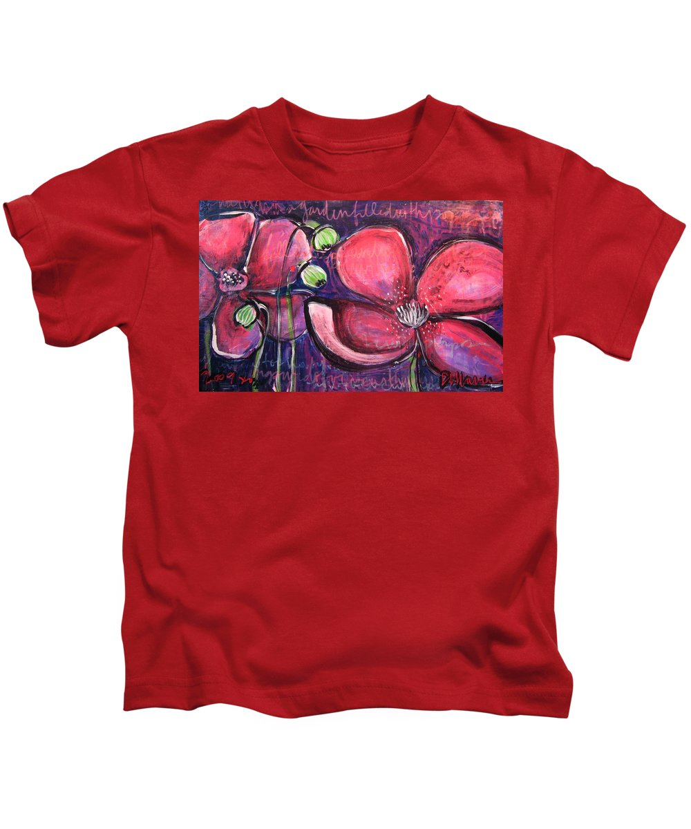 Purple Kids T-Shirt featuring the painting Once I Was In A Garden Filled With Poppies by Laurie Maves ART