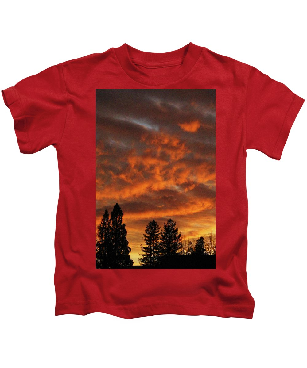 Sunset Kids T-Shirt featuring the photograph Orange Colored Sky by Pauline Darrow