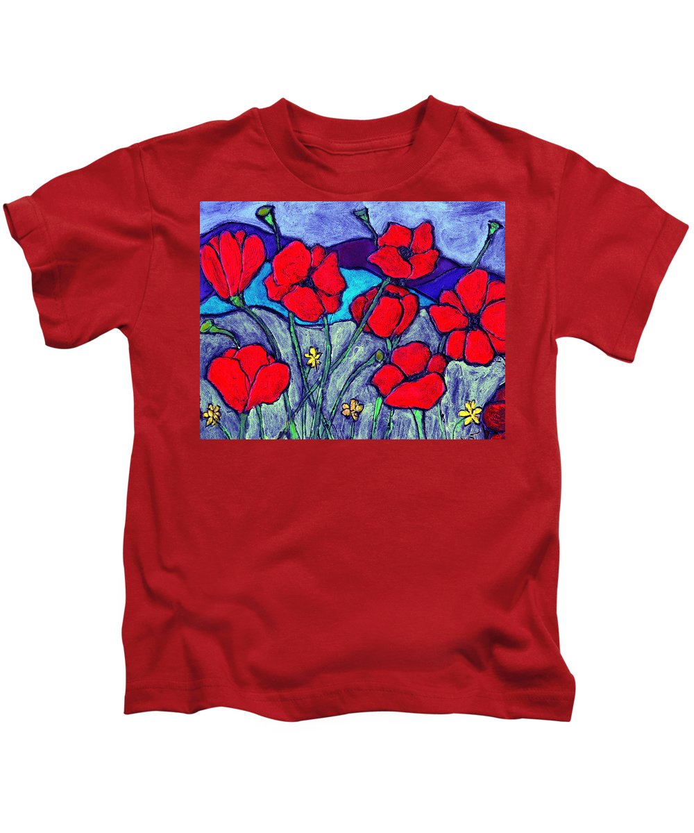 Flowers Kids T-Shirt featuring the painting Orange Red Poppies by Wayne Potrafka