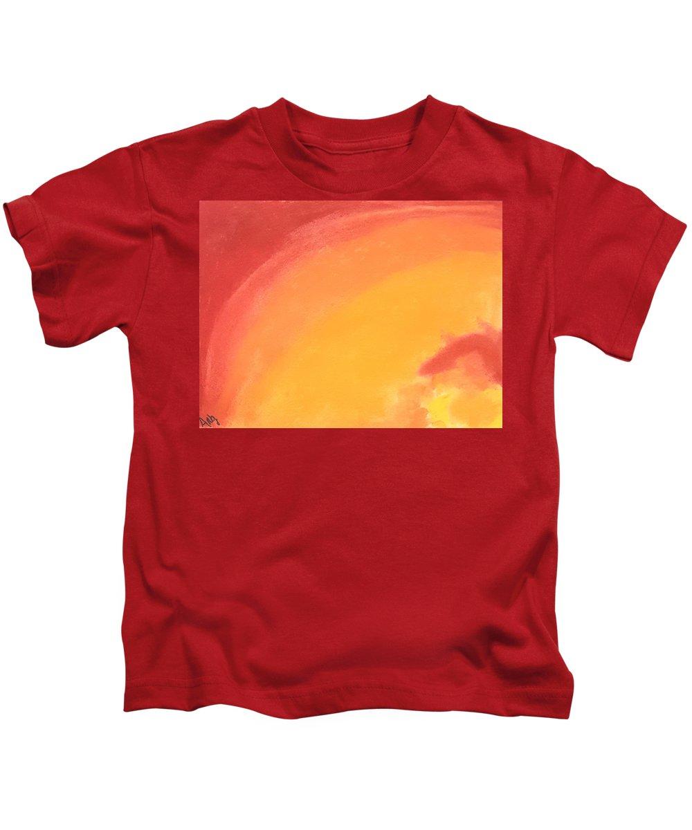 Orange Kids T-Shirt featuring the pastel Orange Sun by Angela Lasky