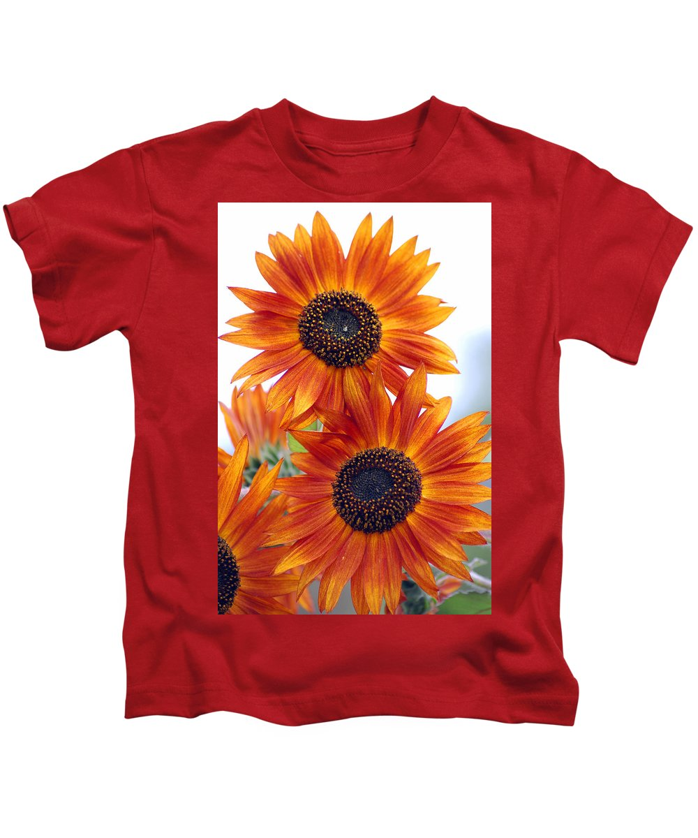 Sunflower Kids T-Shirt featuring the photograph Orange Sunflower 2 by Amy Fose