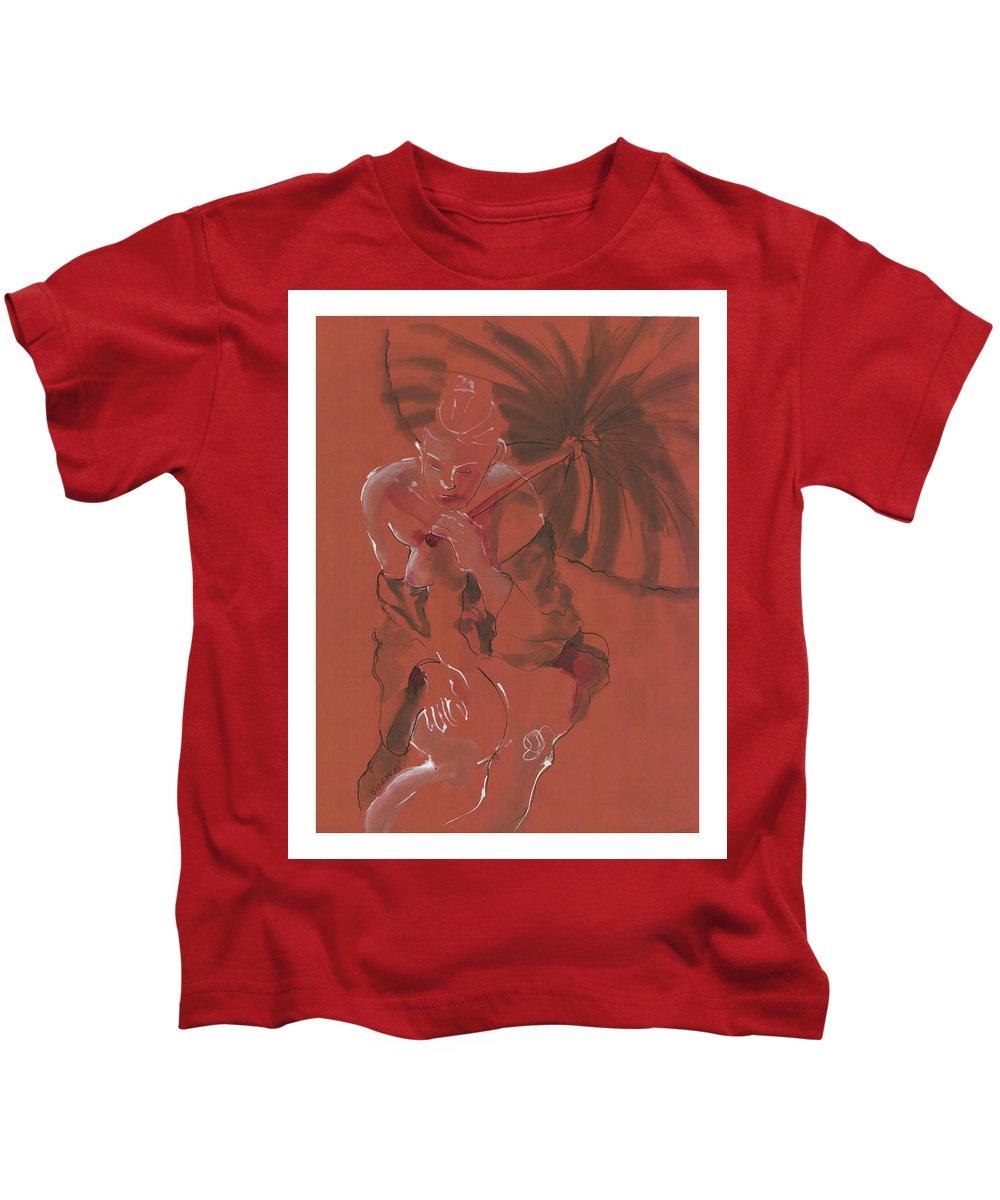 Drawing Kids T-Shirt featuring the drawing Orange Umbrella by Gideon Cohn