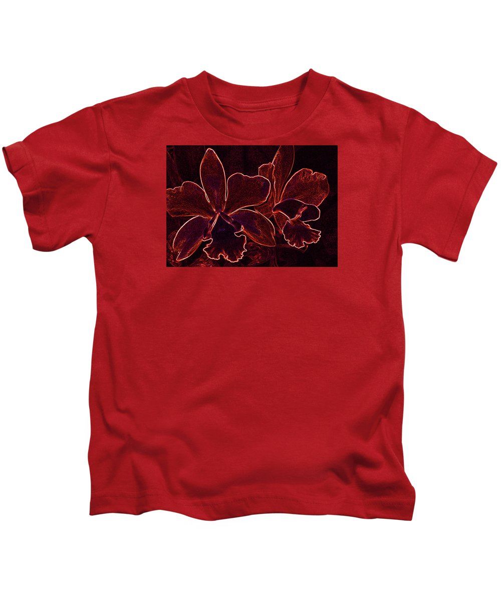 Orchids Kids T-Shirt featuring the digital art Orchids - For Pele by Kerri Ligatich
