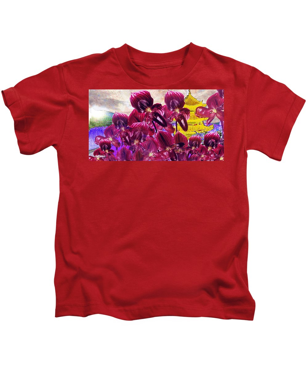 Far East Kids T-Shirt featuring the digital art Oriental Orchid Garden by Seth Weaver