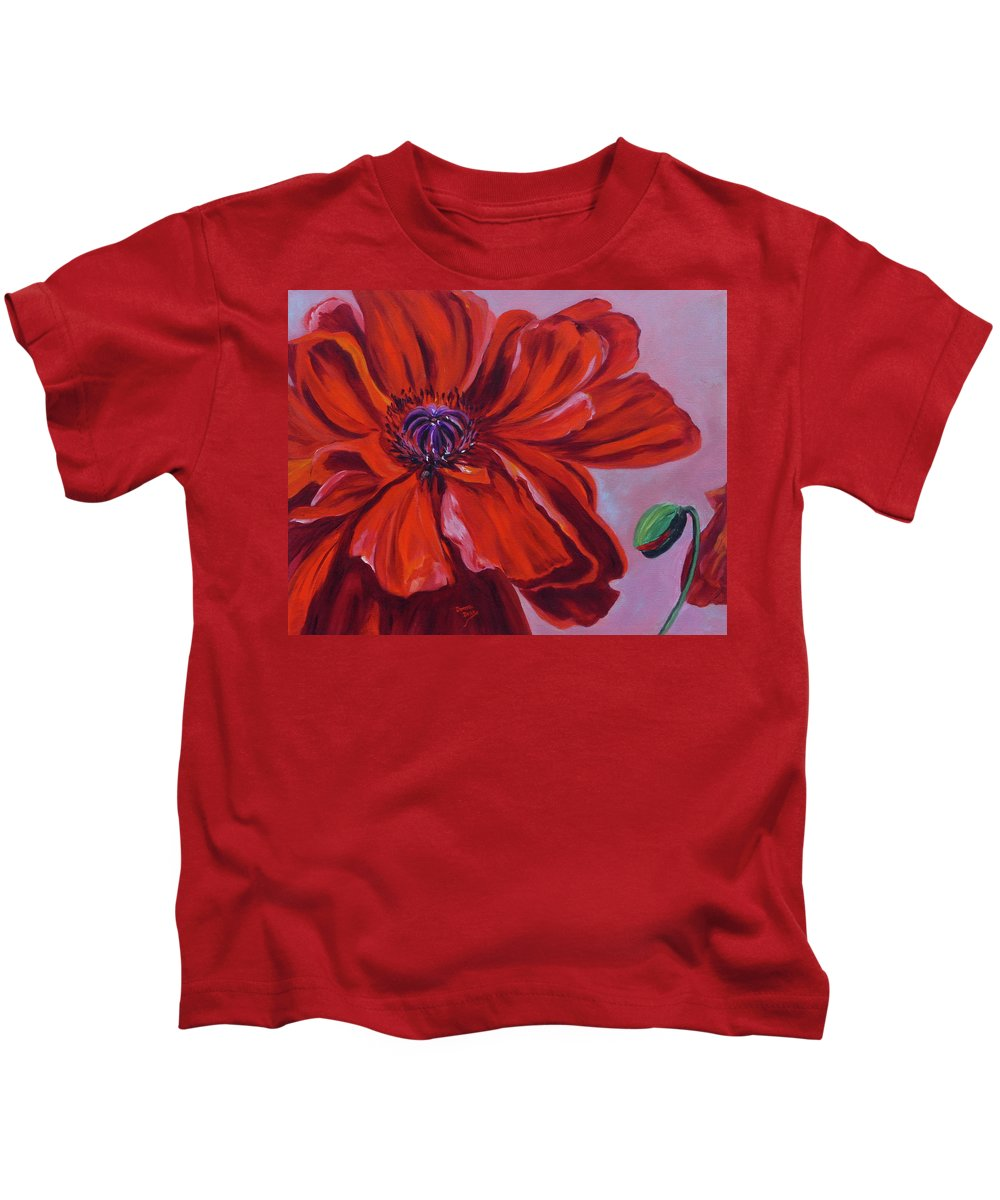 Oriental Poppy Kids T-Shirt featuring the painting Oriental Poppy With Bud by Donna Drake