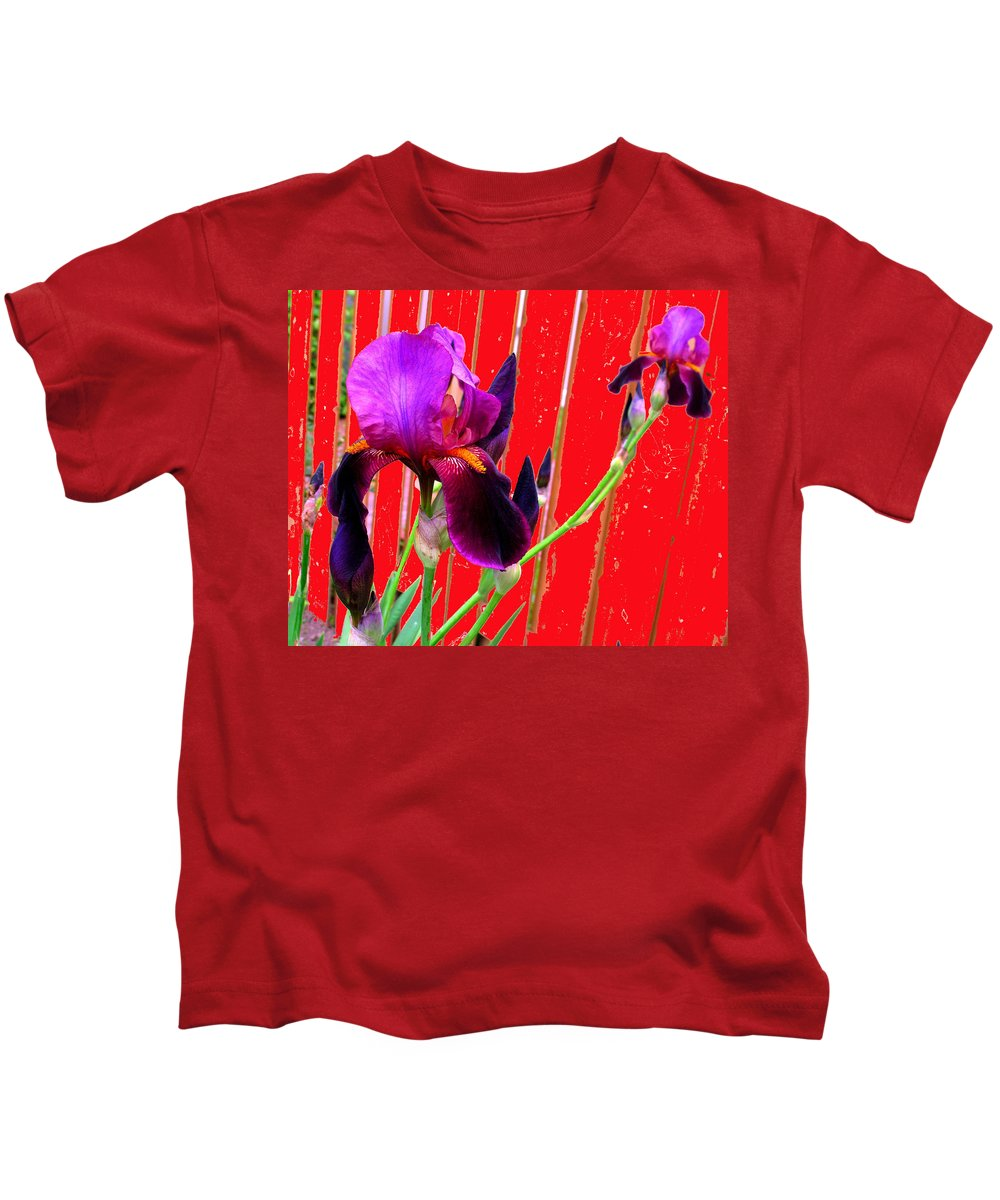 Iris Kids T-Shirt featuring the photograph Other Side Of The Fence by Ian MacDonald