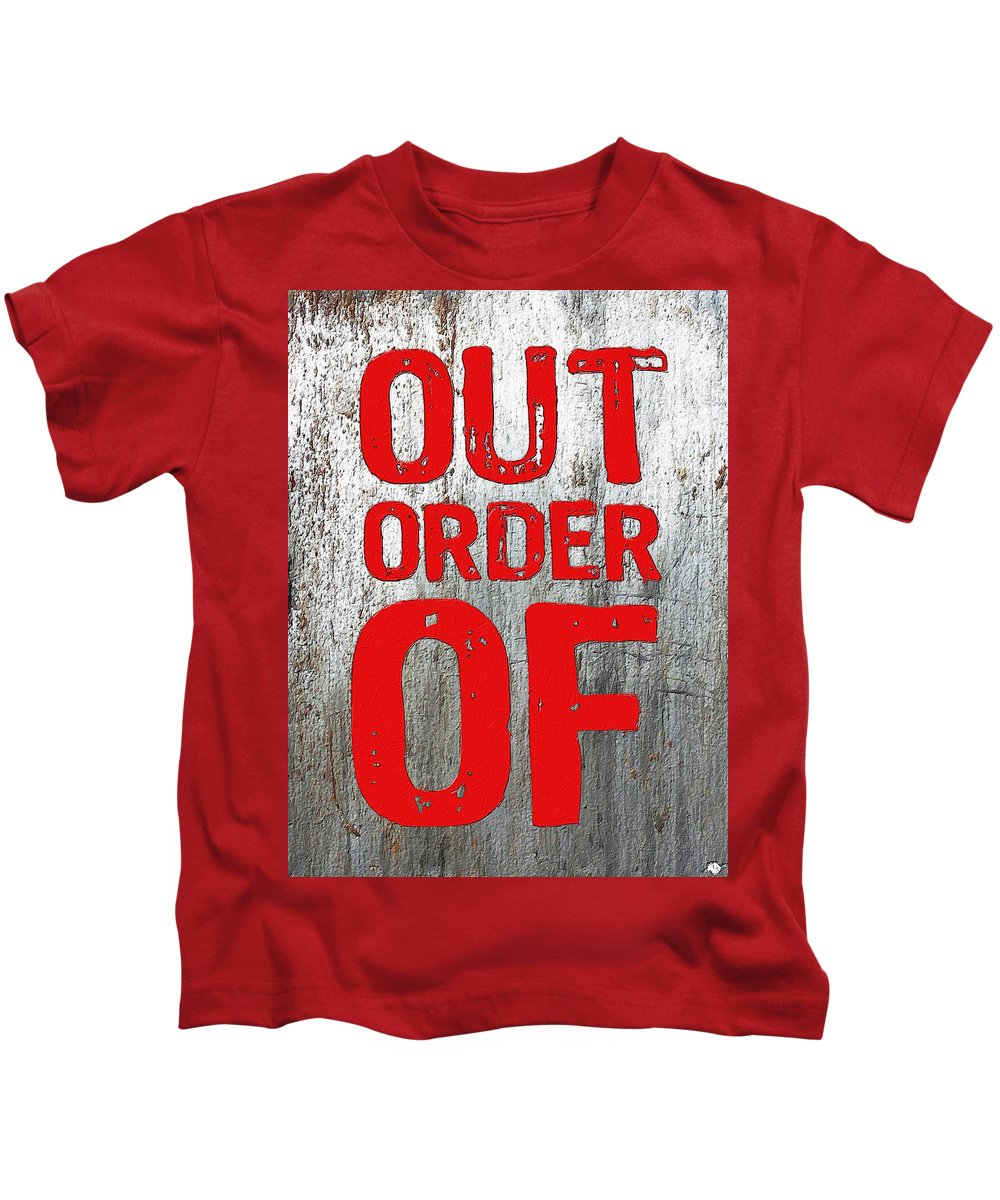 Red Kids T-Shirt featuring the painting Out Of Order by Tony Rubino
