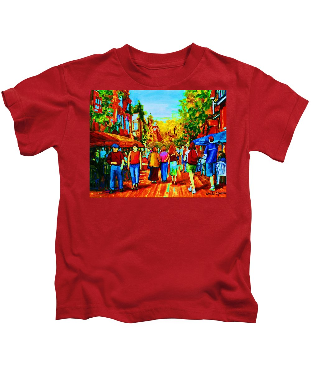 Cafe Scenes Kids T-Shirt featuring the painting Parisian Cafes by Carole Spandau
