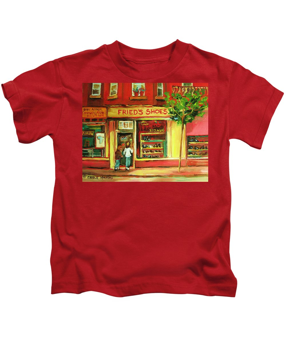 Montreal Kids T-Shirt featuring the painting Park Avenue Shoe Store by Carole Spandau