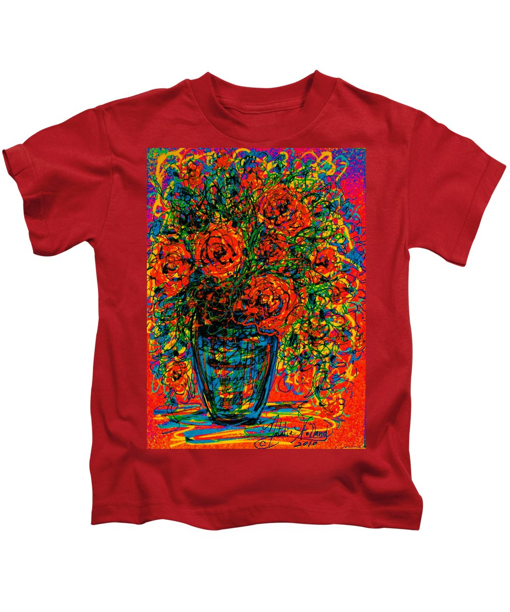 Flowers Kids T-Shirt featuring the mixed media Passion Red by Natalie Holland
