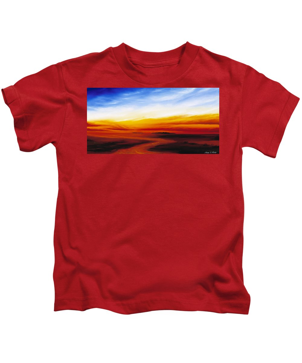 Sunrise Kids T-Shirt featuring the painting Path To Redemption by James Christopher Hill
