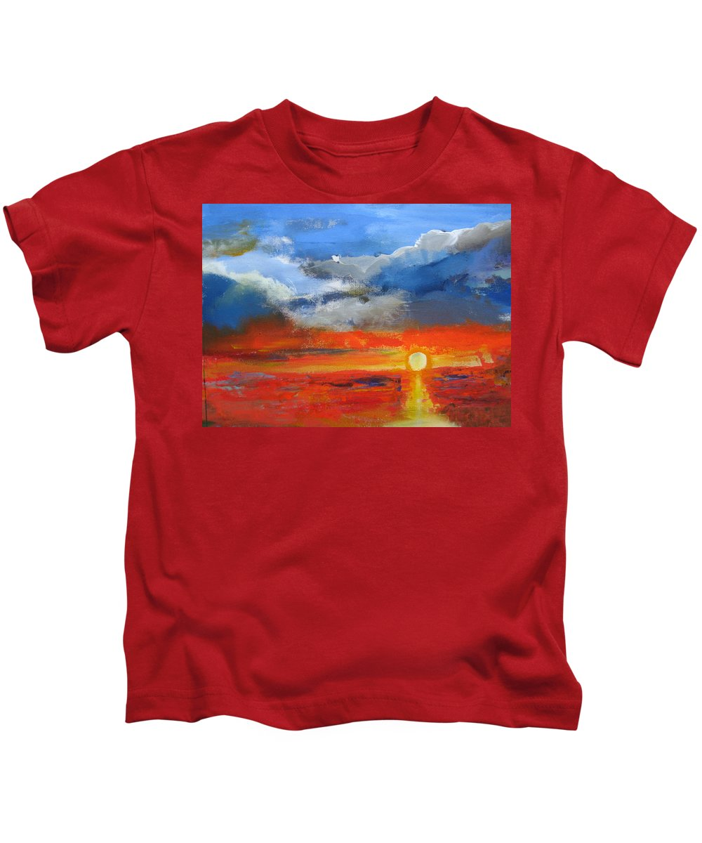 Sunset Kids T-Shirt featuring the painting Pathway To The Sun by Melody Horton Karandjeff