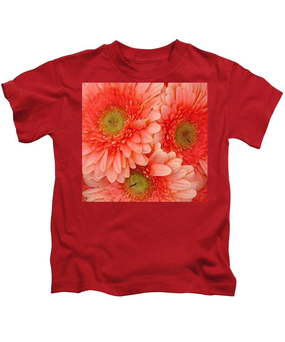 Floral Kids T-Shirt featuring the painting Peach Gerbers by Amy Vangsgard