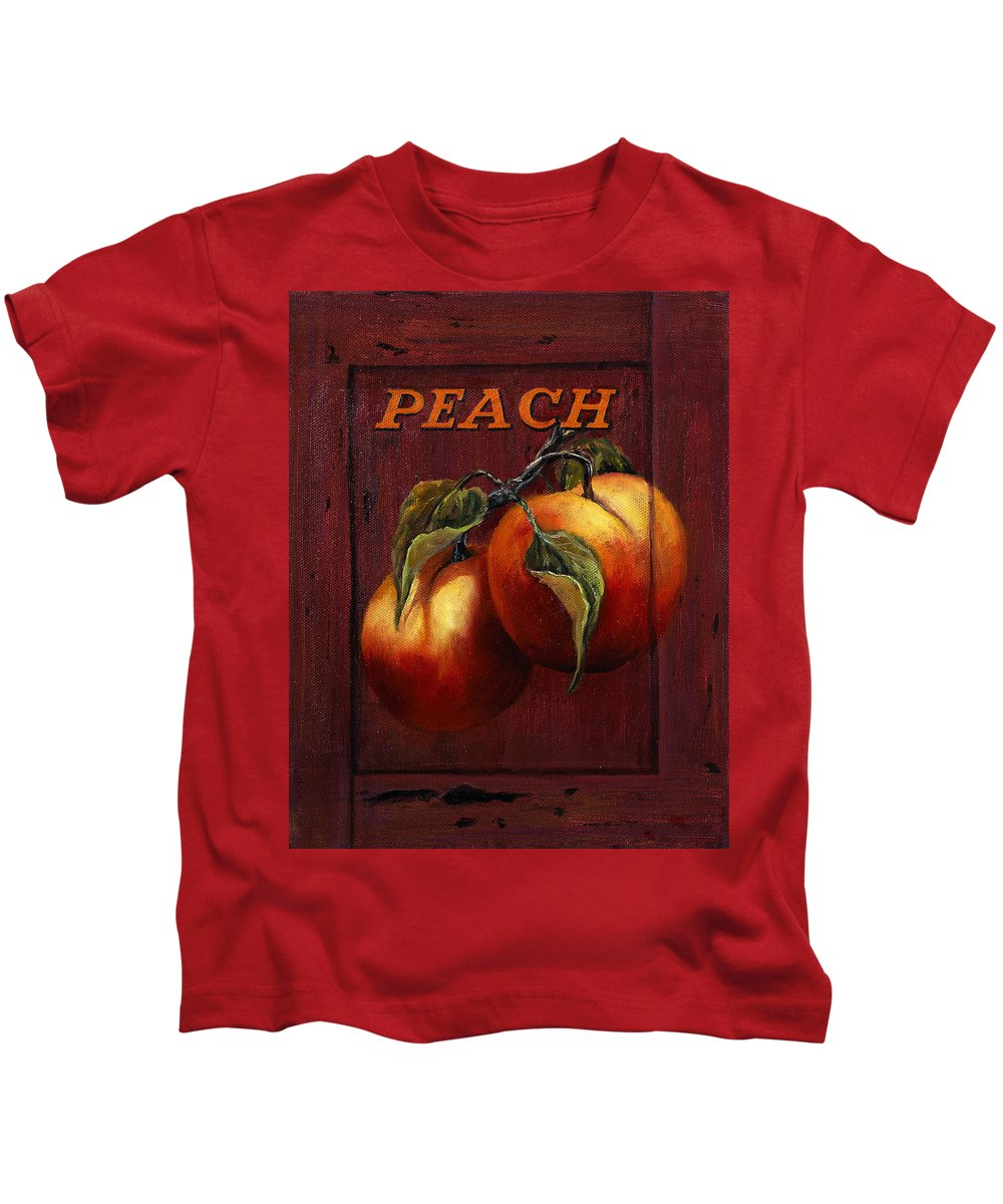 Peaches Kids T-Shirt featuring the painting Peach by Lynne Pittard