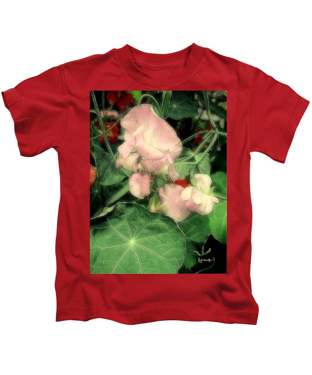 Flowers Kids T-Shirt featuring the painting Peas Porridge by RC DeWinter