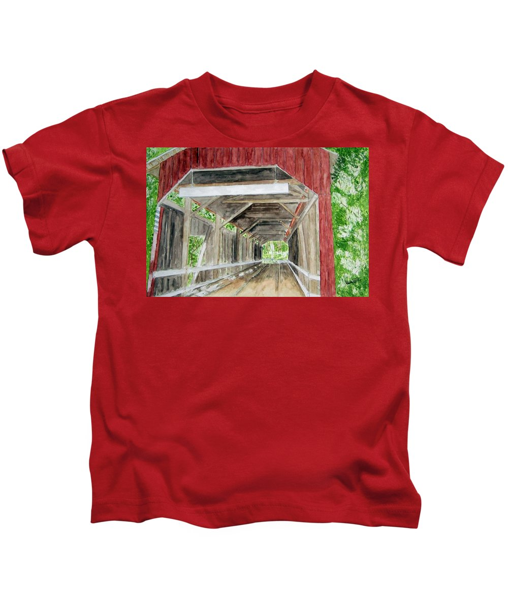 Covered Bridge Art Kids T-Shirt featuring the painting Pennsylvania Inside And Out by Larry Wright