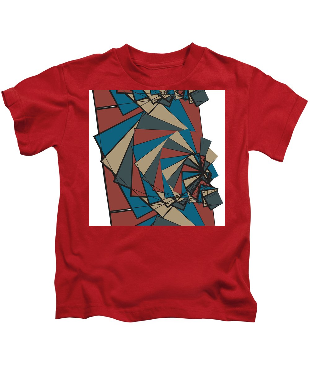 Penny Fountain Abstract Pattern Digital Ink Pattern Repeat Kids T-Shirt featuring the digital art Penny In A Fountain by Christopher Sprinkle