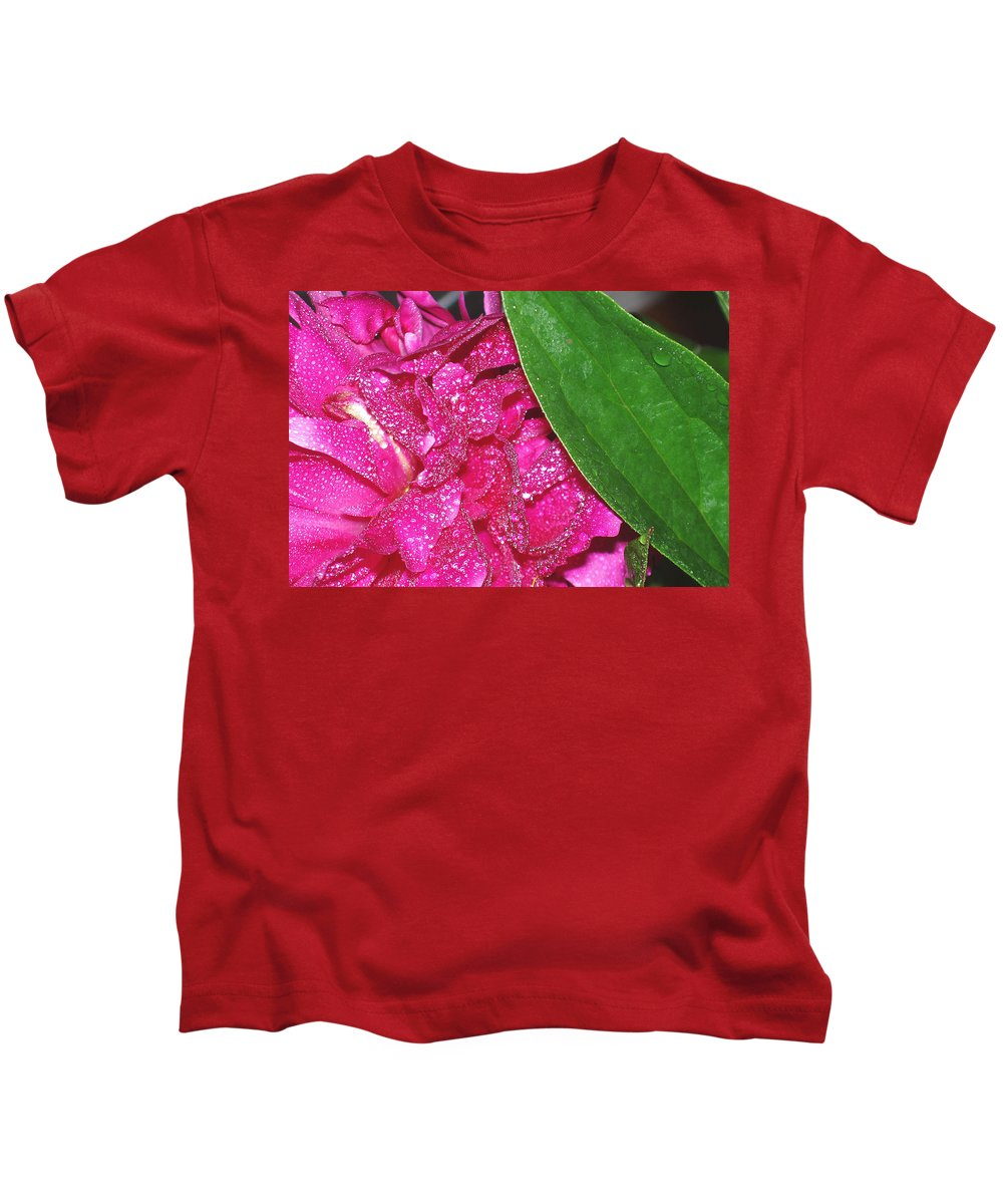 Peony Kids T-Shirt featuring the photograph Peony And Leaf by Nancy Mueller
