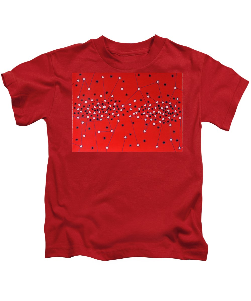 Abstract Kids T-Shirt featuring the painting Peter Higgs by Roger Knox