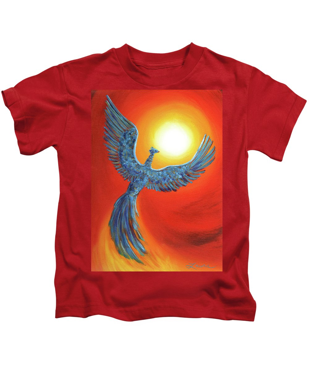 Fantasy Kids T-Shirt featuring the painting Phoenix Rising by Laura Iverson