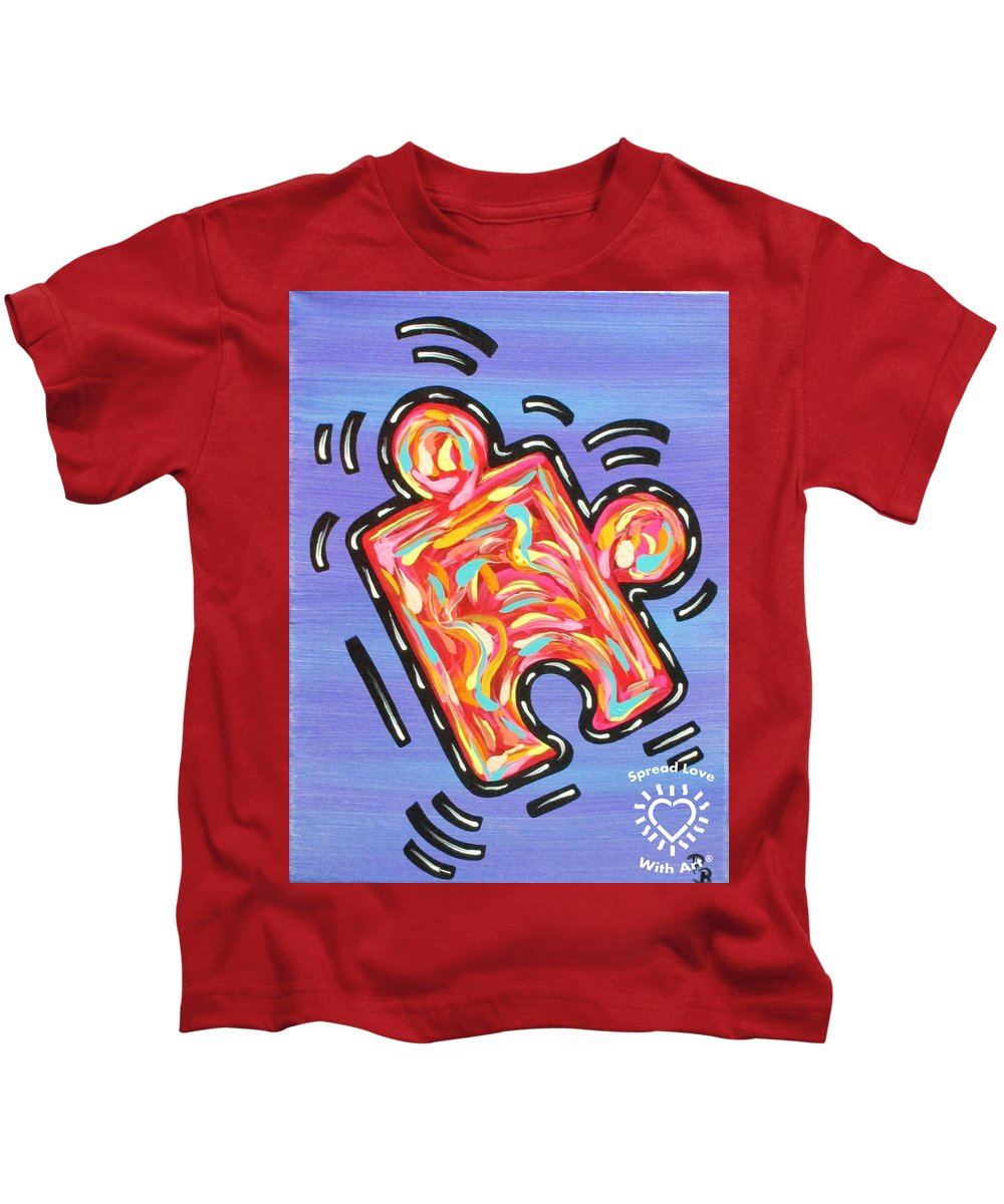 Abstract Kids T-Shirt featuring the painting Pieces Fit by Parker Beaudoin